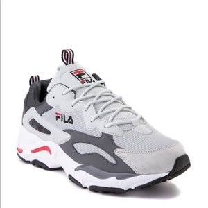 Mens Fila Ray Tracer Athletic Shoe Gray Red black